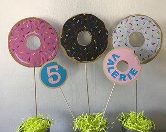 Donut Party Sticks (set of 5)  Double Sided. Excellent for Complement Your Centerpiece.