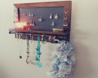 You Pick The Stain, Hook and Mesh Colors, Necklace Holder, Jewelry Storage, Wall Mounted Jewelry Organizer
