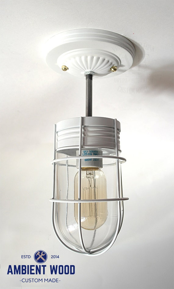 Ceiling Or Wall Light With Cage : White ceiling Cage glass light Industrial Ceiling Light