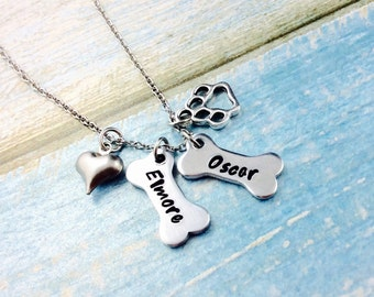 Dog Necklace Personalised Dog Bone Charms, Pet Necklace, Hand Stamped With Pet Names-Pet Jewellery, Dog Lover Jewellery-Dog Lover Gift