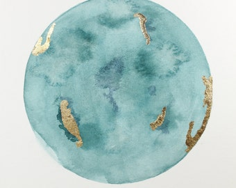 CUSTOM Watercolor Moon Painting, art commission/abstract moon, planet art/nursery art/custom artwork/original painting/pink art/blue art