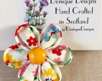 Cotton Fabric Flower Brooch. Kanzashi Style Brooch. Japanese Oriental Style Brooches.