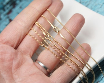 Yellow Gold Filled Chains, Snake Chain, Rope Chain, Cable Chain, Soldered Links