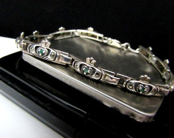 irish claddagh sterling silver marcasite vintage bracelet green stone glass rhinestone | ireland solid 925 layered look jewelry st patricks