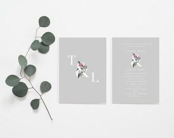 Double-sided Grey Botanical Engagement, modern engagement party invitation, minimal invitation, modern wedding invitation, botanical