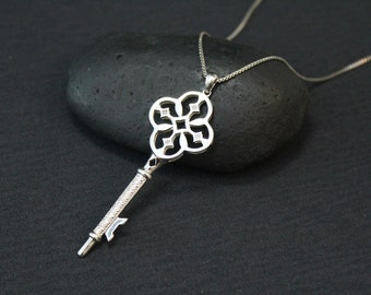 Sterling Silver Open Filigree Key to my Heart Necklace on 18 inch Sterling Silver Box Chain