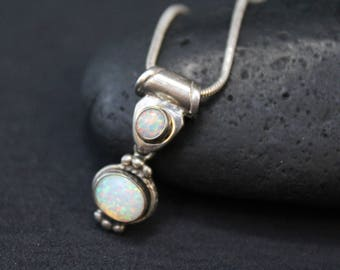 Sterling Silver and Synthetic Opal Pendant on Snake Chain, Synthetic Opal Necklace, Sterling Opal Necklace, Opal Jewelry, Opal Pendant