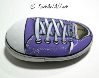 Handmade Purple All Star Converse Shoe! Is hand painted on natural sea stone with Acrylics and  finished with Glossy varnish protection