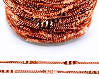 10 meters ( 33 Feet ) Wire Thickness : 0.30 mm Chain, Rose Gold Plated, Free Yes