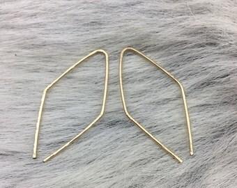 Gold Geometric Threader Earrings