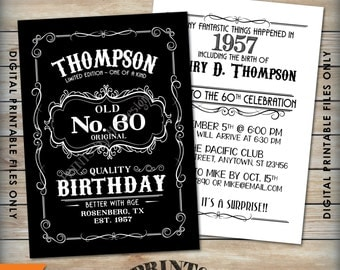 "Vintage Birthday Invitation, Aged to Perfection Alcohol Theme Birthday, Old No. Whiskey Birthday, Black & White 5x7"" Digital Printable Files"