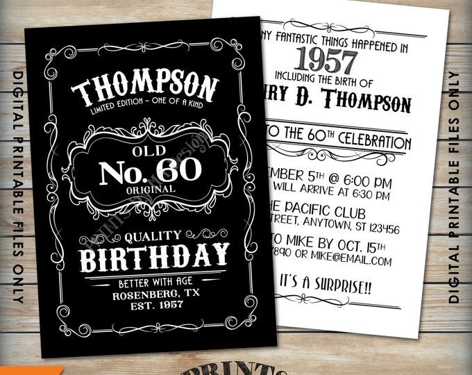 "Vintage Birthday Invitation, Aged to Perfection Alcohol Theme Birthday, Old No. Whiskey Birthday, Black & White 5x7"" Digital Printable Files"