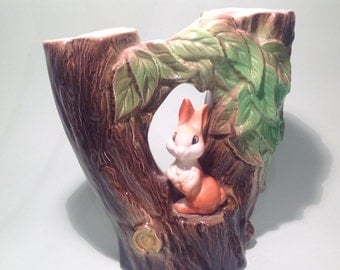 1960's Withernsea Pottery, Double Bud or Flower Vase Featuring a Woodland Rabbit below a garland of leaves