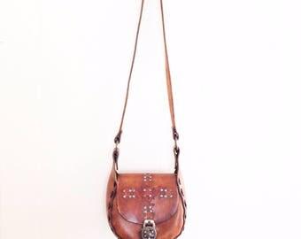 Vintage 70's tooled leather bag. 70's hippie bag. Boho bag.