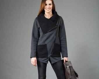 Women's Sweatshirt, Sweatshirt with Asymmetrical Front Zipper, Gray & Black Sweatshirt, Large Cowl Neck Sweatshirt, Hand Made,Clothes Navaho