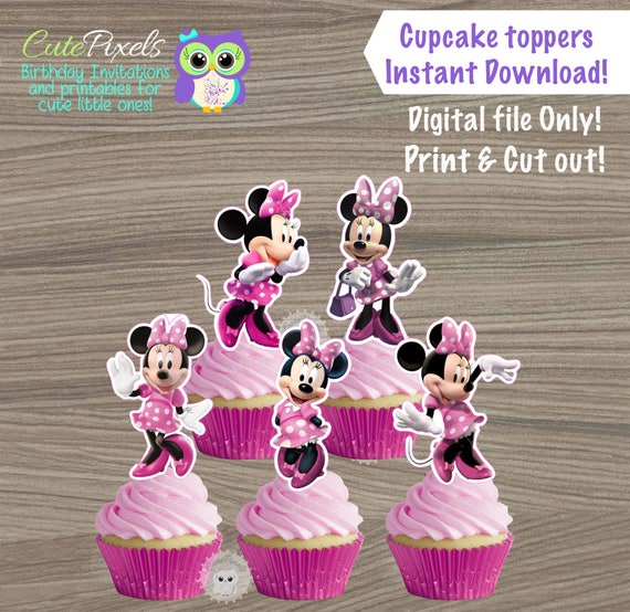 minnie mouse cake topper minnie mouse cupcake toppers minnie mouse pink toppers 5944