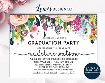 Graduation party invitation watercolor flowers invitation graduation party invitation high school graduation invite open house invitation class of 2017 stopboris Gallery
