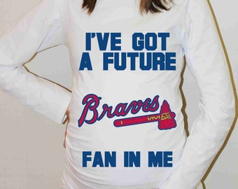 Atlanta Braves Shirt Atlanta Braves Baseball Long Sleeve Maternity Shirt Pregnancy Baby Shower