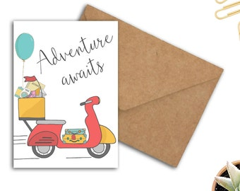 Adventure Awaits Quote Greeting Card - Going Away Card Gift - Vespa Scooter - Card  For Him / Her - Printable Cards - Travel Card - 5 x 7