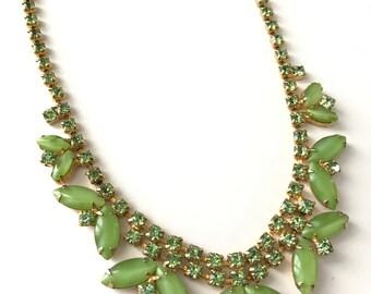 Vintage Green Rhinestone Statement Collar Necklace