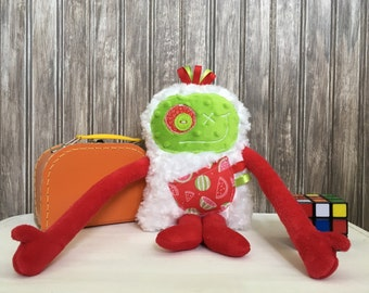Hug Monster, handmade plush toy,  red and green with watermelon pocket, happy friendly monster for child, birthday/shower gift, ready to go