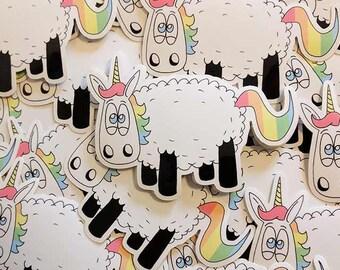 Unicorn stickers, Ewenicorn, Laptop stickers, ipad stickers, Sheep stickers, Sheep gifts, Animal stickers, Journal stickers, cute stickers