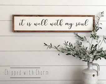 It Is Well With My Soul Sign, Framed Wood Sign, Framed Wood Sign All Is Well With My Soul
