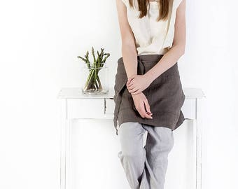 Linen apron / Half linen apron / midi apron / linen coffee apron / washed tea linen apron / mini apron / tea linen apron / kitchen linen