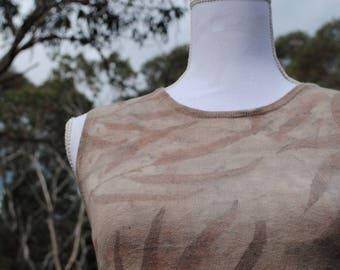 Cotton cashmere wool vest // women's dyed top