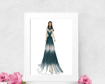 Gift for her, handmade fashion sketch, extremely detailed, art print, fashion illustration