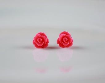Pink Rose Earrings - Rose Stud Earrings - Rose Wedding Earrings - Hot Pink Rose - Small Pink Rose - Victorian Rose - Retro Rose Gift for Her
