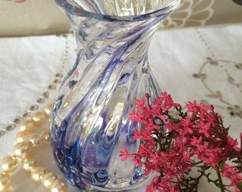 "Blue Swirl Ribbed Bulb Glass Vase/Bud Vase.  Lovely on Breakfast Tray, Mothers Day/Birthday!  4 1/2"" High"