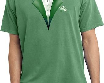 Dark Green Tuxedo Pigment Dyed Tee T-Shirt GREENTUX-PC099