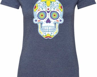 Ladies Neon Sugar Skull Longer Length Tee T-Shirt WS-19099-6004