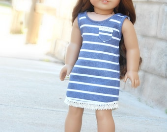 Blue/White Striped Sleeveless Dress with Pocket for American Girl Dolls