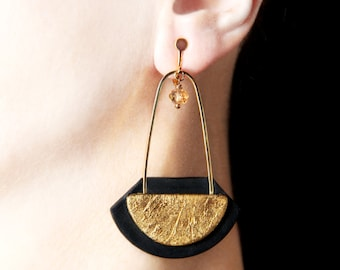 Long dangle earrings Clip on earrings Gold screw on earrings Clip on dangles Clip earrings Big modern jewelry Modernist screw back earrings