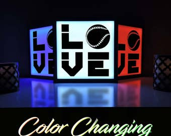Baseball Light, Baseball, Baseball Decor, Baseball Nightlight, Kids Room, Lighting, Light Box, Home Decor, Light Up Sign, Nightlight
