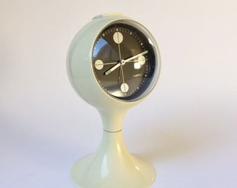 vintage space age alarm clock Blessing W Germany White plastic