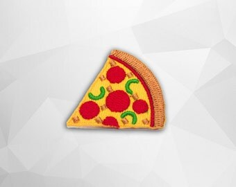 Pizza Iron on Patch(S1)-Pizza Applique Embroidered Iron on Patch -Size 3.7x3.3 cm