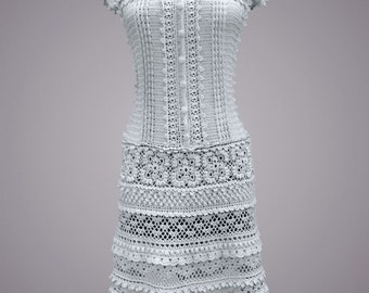 Crochet dress Lexie. Pearly gray cotton all occasion crochet dress. Made to order. Free shipping