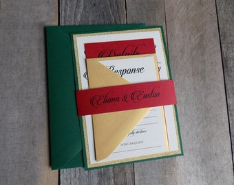 Red Wedding Invitations, Red, Gold and Green Wedding, Modern, Stacked, Calligraphy Wedding Invitations, S023-Eliana