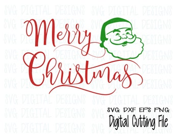 Christmas Svg File Merry Christmas Svg Clipart Santa Claus Cut files, christmas Svg Dxf Eps Holiday cutting files for Silhouette, Cricut