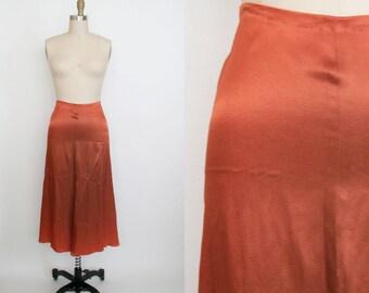 Vintage High Waist Skirt - Long Skirt - Calf Length - Rust Silk - Zipper Back - A Line - Women's Small