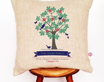 Family Tree Personalised Linen Cushion Cover
