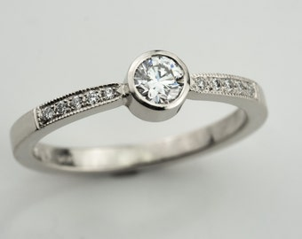 Diamond solitaire ring, engagement diamond ring, white diamond ring, lady diamond ring, conflict free diamond, gold engagement diamond ring