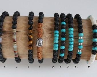 Bracelet 6mm lava stones and semi-precious stones men