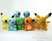 Pokemon Chibi Plushes: Charmander, Squirtle, Bulbasaur, Pikachu - now with Shiny!