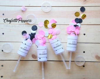 Confetti Poppers, Push Pop, Surprise Party, Wedding Favors, Baby Shower, Tissue Paper Confetti Toss, Baby Reveal, Pink, Blue, Lilac, Gold