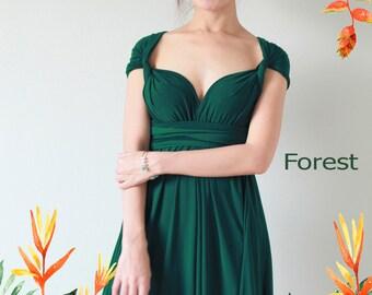 Maxi Forest Green Bridesmaid Dress infinity Dress Prom Dress Convertible Dress Wrap Dress