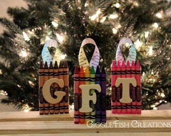 Crayon Letter Ornament: Great for Teacher's Christmas Gift or Child